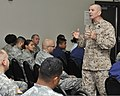 U.S. Marine Corps Sgt. Maj. Bryan Battaglia, standing, the senior enlisted adviser to the chairman of the Joint Chiefs of Staff, holds a town hall meeting at Ellington Field Joint Reserve Base in Houston 130826-Z-VS466-033.jpg