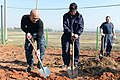 U.S. Navy Chief Logistics Specialist Emerson Macadaan, left, assigned to the guided-missile destroyer USS McCampbell (DDG 85), cultivates soil with a member of the South Korean navy during a Foal Eagle 2013 130311-N-TG831-138.jpg