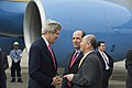 U.S. Secretary of State John Kerry is greeted by U.S. Ambassador to Japan John V. Roos and Japanese Ambassador to the United States Kenichiro Sasae upon his arrival to Tokyo, Japan, on April 14, 2013.jpg