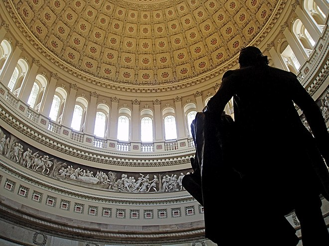 Rotunda viewed from behind the statue of George Washington USCapitolRotunda.JPG
