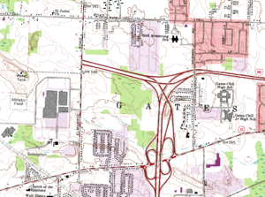 New York State Route 531 - 1978 United States Geological Survey topographic map of Gates, showing the entirety of then-NY 940P from Elmgrove Road to I-490