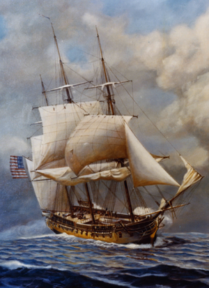 A painting of a sailing ship at sea.  The ship has three masts and the sails are reefed while firing upon with another ship.  The ship is sailing toward lower right hand corner of the frame.