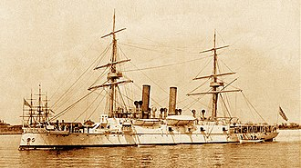 Square rig - USS Atlanta in 1884 showing the hybrid configuration of square rig and steam. A square-rigger can be seen in the background.