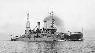 USS Mississippi (BB-23) - USS Mississippi circa 1909 after the addition of the first cage mast