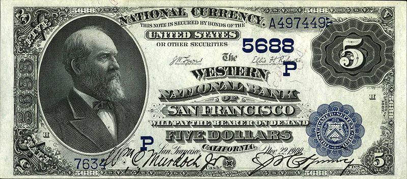 банкнота Западного Национального банка Сан Фрациско