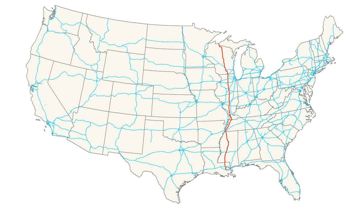 US Route Wikipedia - Us highway 61 map