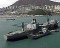 US Naval Ship Pollux (T-AKR-290) anchored in the harbor off the Port of Pusan, Republic of Korea - 19 Oct. 1998.jpg