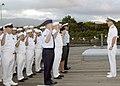 US Navy 040129-N-7683J-009 Commander, U.S. Pacific Command, Adm. Thomas B. Fargo reenlisted 44 multi-service personnel aboard USS Missouri memorial.jpg