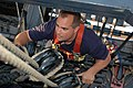 US Navy 040903-N-0335C-053 A chief petty officer (CPO) selectee climbs the rigging aboard USS Constitution.jpg
