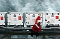 US Navy 050401-N-7359L-002 An Aviation Ordnanceman, assigned to the Weapons Department aboard USS Dwight D. Eisenhower (CVN 69), cleans the cover of an ammunition storage box on a catwalk.jpg