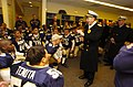US Navy 061202-N-0696M-144 Chief of Naval Operations (CNO) Adm. Mike Mullen, congratulates a victorious Naval Academy football team after they defeated the Black Knights of the U.S Military Academy 26-14.jpg