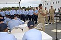 US Navy 070507-N-0696M-428 Master Chief Petty Officer of the Navy (MCPON) Joe R. Campa Jr. answers questions from Sailors assigned to guided missile destroyer USS Russell (DDG 59) during an all hands call on the fantail of the.jpg