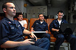 US Navy 080615-N-4133B-071 Electrician's Mate 2nd Class Anthony Katen, left, from Fremont, Calif., plays video games in the lounge outside his berthing aboard the Nimitz-class aircraft carrier USS Ronald Reagan (CVN 76).jpg