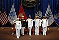 US Navy 080827-N-6259S-001 Rear Adm. Matthew Nathan salutes to accept his orders as new National Naval Medical Center Commander.jpg