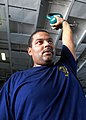 US Navy 081027-N-2456S-040 Machinist's Mate 1st Class Rory Rice exercises with the kettle bell.jpg
