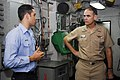 US Navy 090820-N-6538W-139 Vice Adm. Thomas Kilcline, Commander, Naval Air Forces, Speaks with Aviation Boatswain's Mate (Equipment) 2nd Class Dennis Archer, from Miami, about the arresting gear engines aboard the aircraft carr.jpg