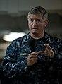 US Navy 110926-N-DR144-233 Vice Adm. Gerald R. Beaman speaks to Sailors during an all-hands call on the mess decks aboard USS Carl Vinson (CVN 70).jpg