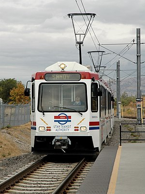 Siemens-built tram of the UTA's TRAX network a...