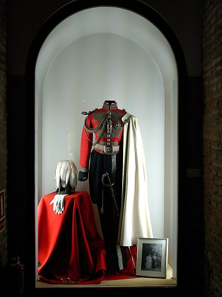 Carlos's uniform of the Real Maestranza de Caballería de Sevilla, worn by him as best man to the wedding of his cousin King Juan Carlos I in 1962 Uniforme de maestrante.jpg