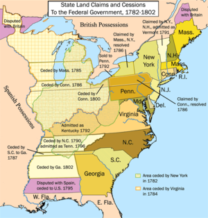 State cessions - A map of the United States showing land claims and cessions from 1782 to 1802.