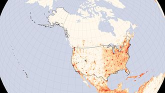 Demography of the United States - United States population density map