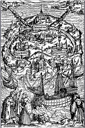Woodcut by Ambrosius Holbein for a 1518 edition of Utopia. The traveler Raphael Hythloday is depicted in the lower left-hand corner describing to a listener the island of Utopia, whose layout is schematically shown above him.
