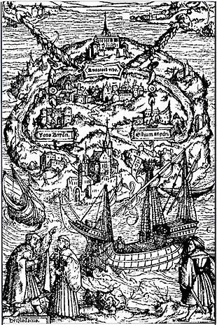 Raphael Hythloday describe la isla. Grabado de Ambrosius Holbein para una edición de 1518