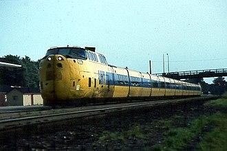 UAC TurboTrain - VIA rail TurboTrain passing through Brockville, Ontario, Canada.