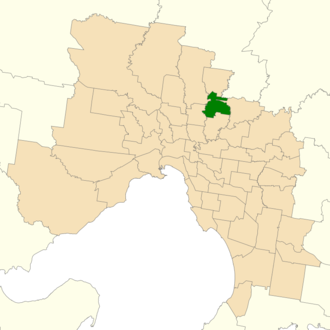 Electoral district of Bundoora - Location of Bundoora (dark green) in Greater Melbourne