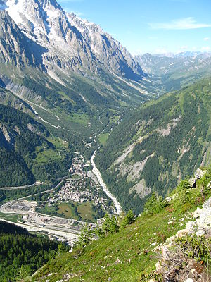 Mont Blanc massif - View over La Palud and eastwards along Val Ferret, Italy