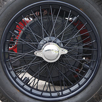 Wire wheel - Rudge-Whitworth wire wheel on a 1922 Vauxhall 25