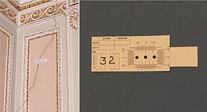 Vernier scale - Mechanical displacement gauges with vernier scales on wall cracks (Moika Palace, Saint Petersburg).