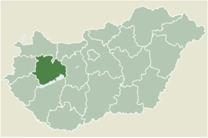 Bakonybél - Location of Veszprém county in Hungary