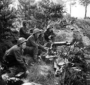 Mk III helmet - Image: Vickers machine guns fire in support of troops crossing the Maas Schelde Canal
