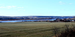 Petitcodiac River - Petitcodiac River, view from New Brunswick Route 925, near Gautreau Village (Memramcook)