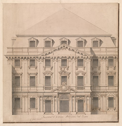 View of a Theater (Bayreuth)- Exterior Elevation of the Facade; Central Portal Surmounted by Royal Crown MET DP-13489-001