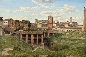 Cloaca Maxima - View of the Cloaca Maxima as it appeared in 1814.  Oil on canvas by Christoffer Wilhelm Eckersberg