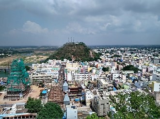 Srikalahasteeswara temple - The temple in reconstruction, view from Kannappa Hill near the ...river (2016)