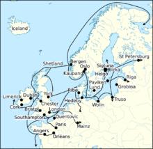 Carte d'un littoral avec routes navigables tracées en noir