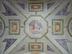 Villa Pojana - The atrium ceiling fresco, with the allegory of Fortuna attributed to Giovanni Battista Zelotti.