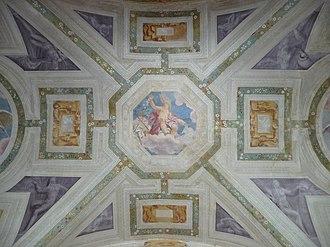 Villa Pojana - The atrium ceiling fresco, with the allegory of Fortuna attributed to Giovanni Battista Zelotti.