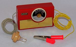 Crystal radio - 1970s-era crystal radio marketed to children. The earphone is on left.  The antenna wire, right, has a clip to attach to metal objects such as a bedspring, which serve as an additional antenna to improve reception.