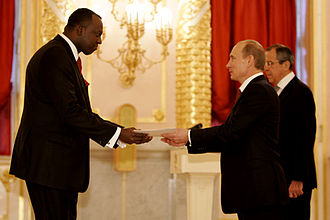 Letter of credence - Ambassador Eugène-Richard Gasana of Rwanda presents his credentials to Russian President Vladimir Putin, attended by Russian Foreign Minister Sergey Lavrov.