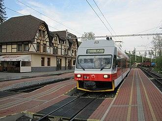 Trams in Europe - A tram in the High Tatras, Slovakia.