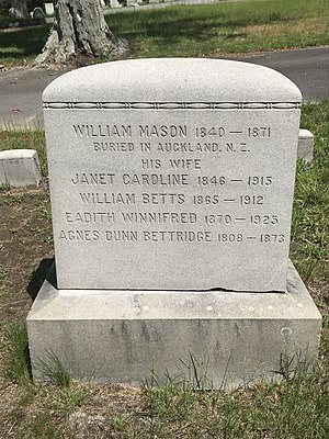 W.B. Mason - Mason family grave at Union Cemetery in Brockton, MA.