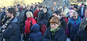 2009 Icelandic financial crisis protests - Image: W02 Protesters Auturvöllur 07942