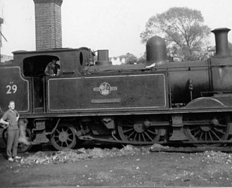 Railways on the Isle of Wight - LSWR O2 class locomotive W29 Alverstone (in 1965 BR livery). 23 were brought to the island by the Southern.