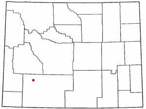 Farson, Wyoming - Image: WY Map doton Farson