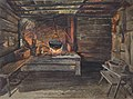 Watercolor Painting of Cabin Scene with Fireplace by Louis Schultze.jpg