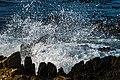 Wave breaking into spray on rocky Robben Island shore.jpg